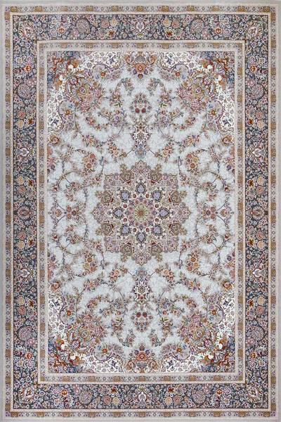 فرش ماشینی سنتی فلورا برجسته زمینه سیلور