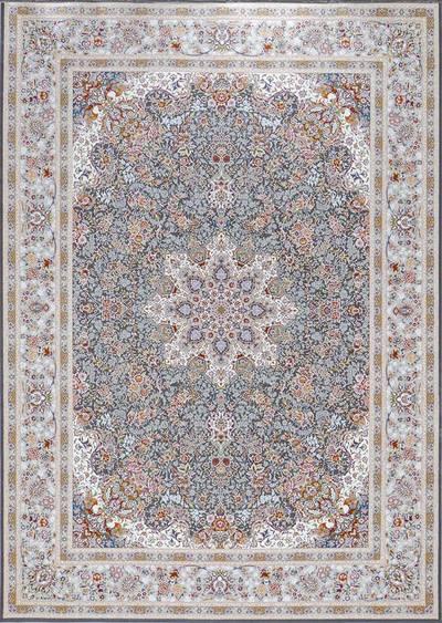 فرش ماشینی سنتی فلورا برجسته زمینه دودی