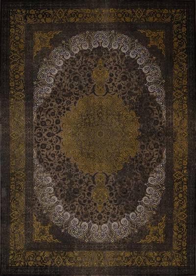 فرش ماشینی سنتی ۲۵۲ لاوا برجسته زمینه طلایی