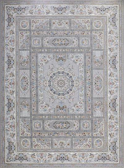 فرش ماشینی سنتی - خشتی برجسته زمینه سیلور