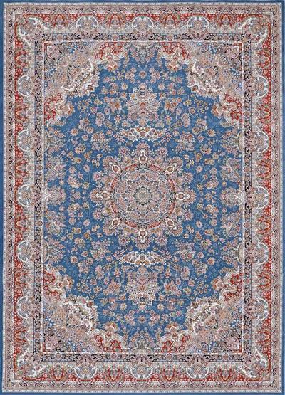 فرش ماشینی سنتی ۱۳۵۲ برجسته زمینه آبی