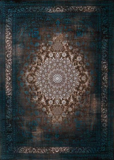 فرش ماشینی سنتی لاوا ۲۶۲ برجسته زمینه آبی
