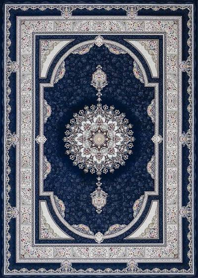 فرش ماشینی سنتی - بوستان 24 برجسته زمینه سرمه ای
