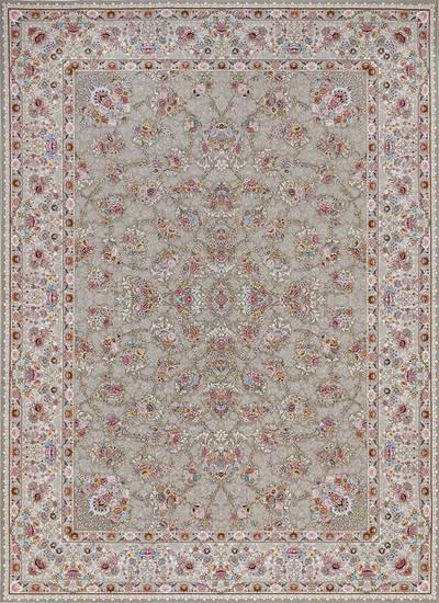 فرش ماشینی سنتی گیلدا برجسته زمینه خاکستری