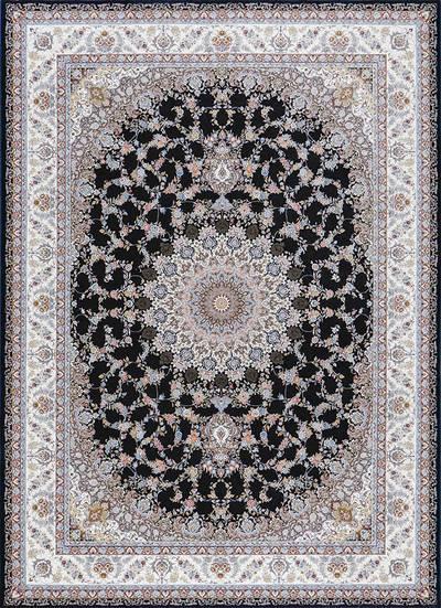 فرش ماشینی سنتی - طاووس برجسته زمینه سرمه ای