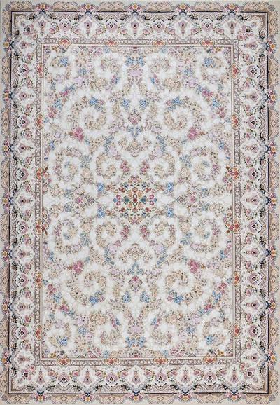 فرش ماشینی سنتی ۸۱۲۳۶ برجسته زمینه  کرم