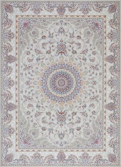 فرش ماشینی سنتی تاج زمینه  کرم