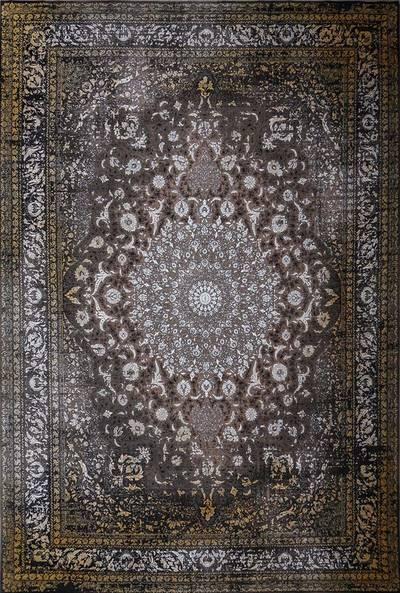 فرش ماشینی سنتی لاوا ۲۶۳ برجسته زمینه قهوه ای