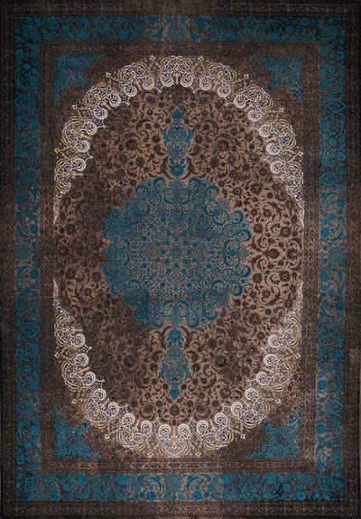 فرش ماشینی سنتی ۲۵۱ لاوا برجسته زمینه نسکافه ای