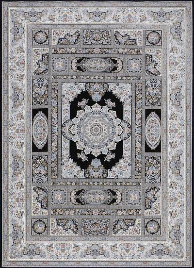 فرش ماشینی سنتی - خشتی برجسته زمینه سرمه ای