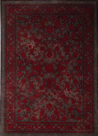 فرش ماشینی سنتی لاوا ۲۸۵ برجسته زمینه لاکی