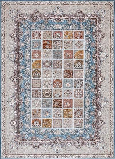 فرش ماشینی سنتی - پرتو برجسته زمینه آبی
