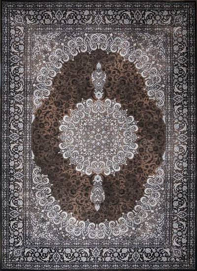 فرش ماشینی سنتی لاوا ۲۵۶ برجسته زمینه شکلاتی