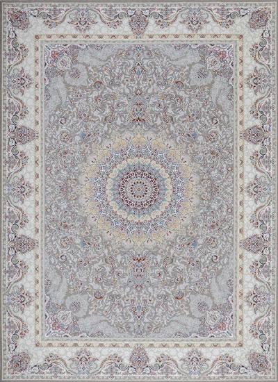 فرش ماشینی سنتی تاج زمینه سیلور