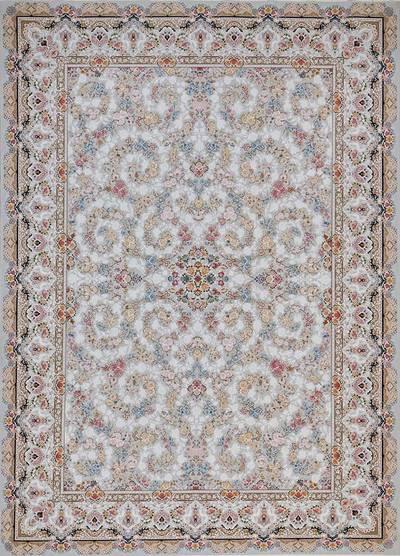 فرش ماشینی سنتی ۸۱۲۳۶ برجسته زمینه نقره ای
