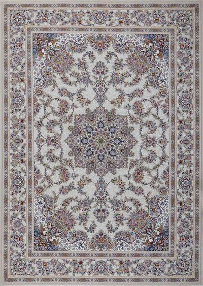فرش ماشینی سنتی - فلورا برجسته زمینه  کرم