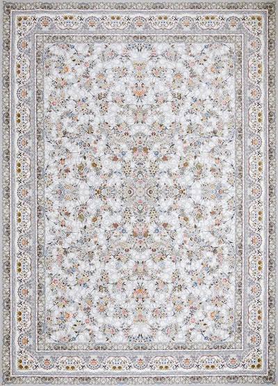 فرش ماشینی سنتی - بهار برجسته زمینه سیلور