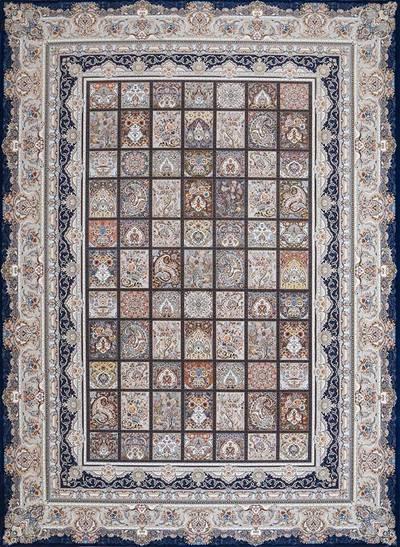 فرش ماشینی سنتی - خشتی 99 برجسته زمینه سرمه ای