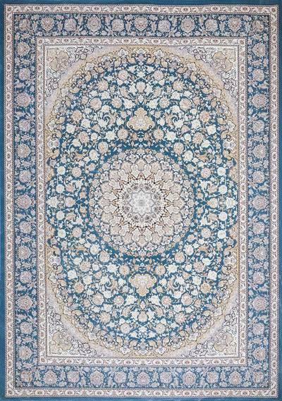 فرش ماشینی سنتی - بامبو 45 برجسته زمینه آبی