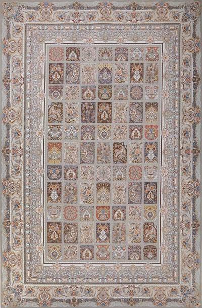 فرش ماشینی سنتی - خشتی 99 برجسته زمینه نقره ای
